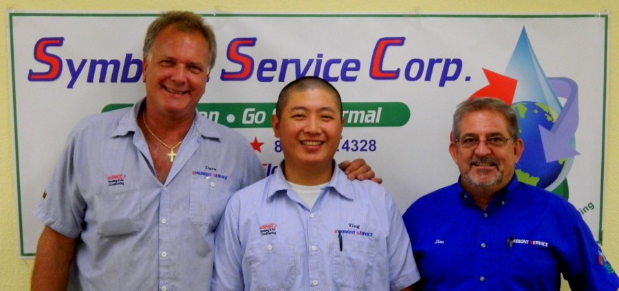 LEFT to RIGHT: David Livingston, Ying Lin (East Coast Service Technicians), Jim Howarth (Service Mgr.)