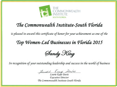 Top Women-Led Businesses in Florida 2015 Award