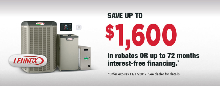 Lennox Air Conditioning Rebates - up to $1600 or 72 month interest free financing