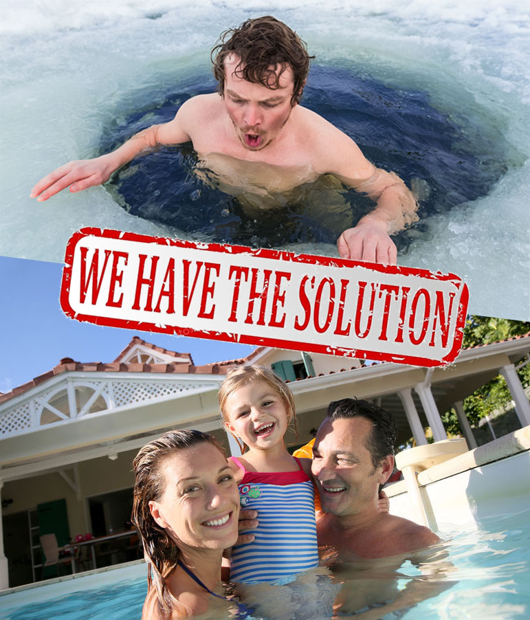 Man Swimming in Icy Water - We Have the Solution - Family Playing in Warm Pool