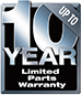 10 Year Limited Parts Warranty