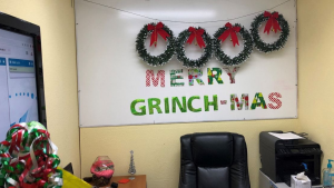 holiday decoration with writing: Merry Grinch-Mas