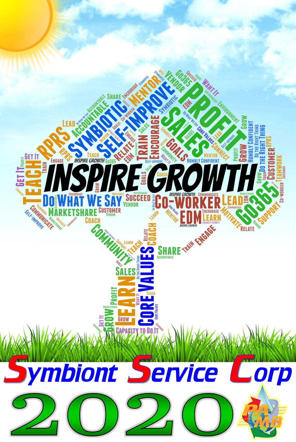 Inspire Growth tag cloud in shape of a tree
