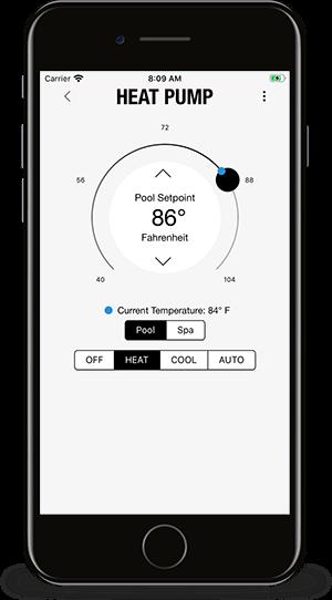 PoolSync App - Heat Pump controls