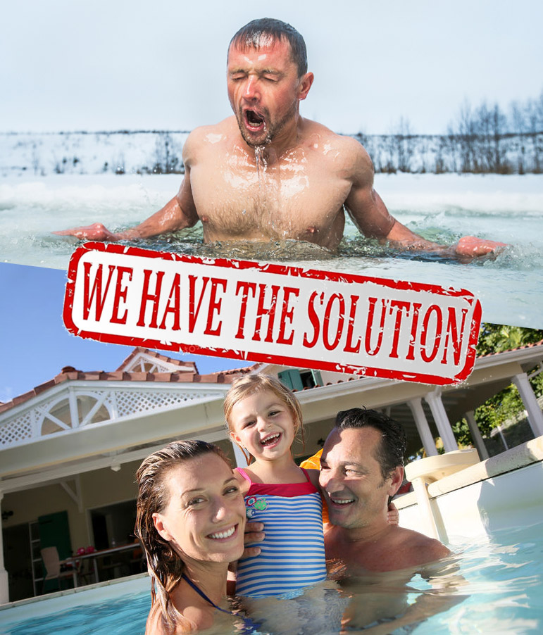 photo of a Man Swimming in Icy Water above a photo of a Family Playing in Warm Pool - text overlay reads: We Have the Solution