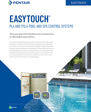 Pentair EasyTouch PL4 and PSL4 Pool and Spa Control Systems Brochure Cover