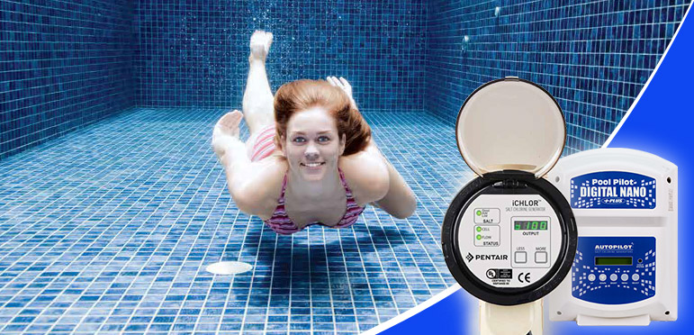 woman swimming with her eyes open underwater in a pool with a salt chlorine generator
