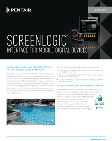 Pentair Screenlogic Brochure Cover