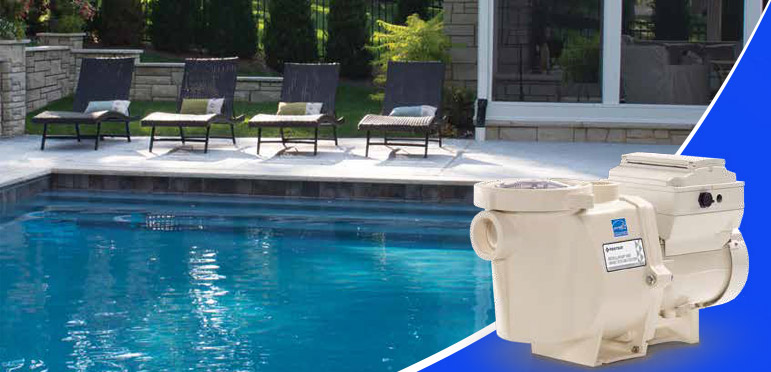 residential swimming pool with a Variable Speed Pool Pump