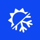 half sun, half snowflake icon in a blue circle