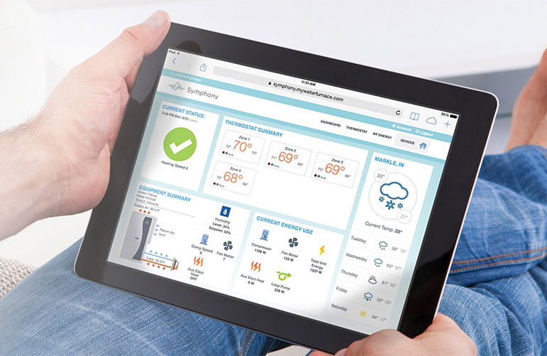 man holding a tablet with the Symphony app