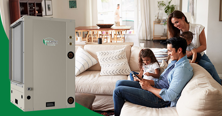 GeoComfort GeoThermal Air Conditioner with photo of happy Hispanic family