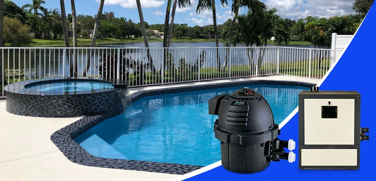 Pentair gas pool heaters sitting next to a pool and spa